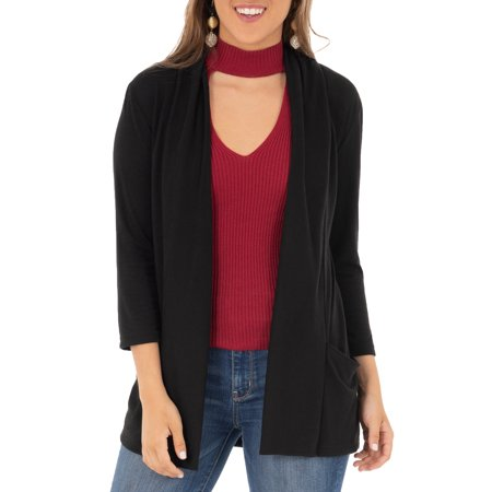 Women's 3/4 Sleeve Draped Jersey Cardigan