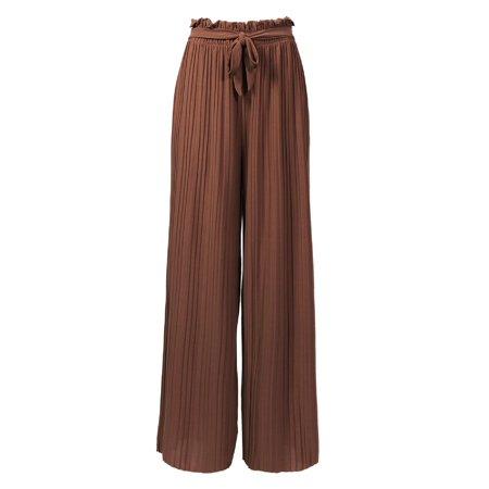 MixMatchy Women's Ribbon Tie Chiffon Loose Pleated Wide Leg Palazzo Pants Mocha ONE