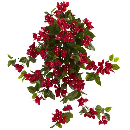 """Bougainvillea Hanging - Nearly Natural 28"""" Bougainvillea Hanging Bush Artificial Plant (Set of 2) UV Resistant (Indoor/Outdoor)"""