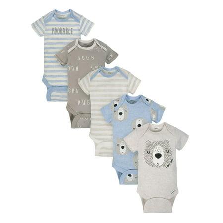 Gerber Organic Cotton Assorted Onesies Bodysuits, 5pk (Baby Boy)