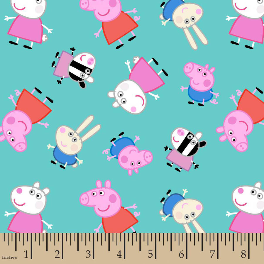 "Peppa Pig and Friends Fabric by the Yard, Teal, 43/44"" Width"
