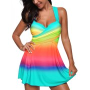 711ONLINESTORE Women's Cross Back Tankini Two Pieces Push Up Bathing Suit