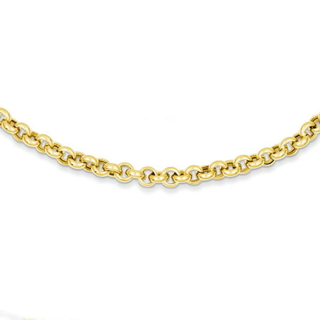 14K Yellow Gold 5 MM Polished Fancy Rolo Link Necklace, 18""