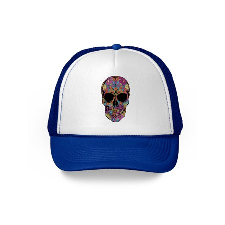 Awkward Styles Black Flower Skull Caps Skull Trucker Hats Skull Gifts Day of Dead Skull Accessories Skull Caps Winter Summer (Dead Fish Hat)