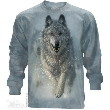 Blue Cotton Snow Plow Animal Design Adult Long Sleeve T-Shirt for $<!---->