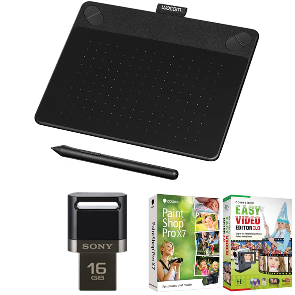 Wacom Intuos Art Pen and Touch Tablet Small Black 16GB Creative Bundle w/Corel Paint includes Intuos Tablet, Corel Paint Shop Pro and 16GB JumpDrive