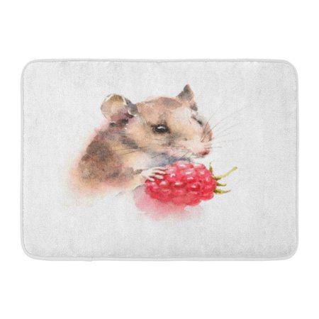 GODPOK Forest Red Painting Watercolor Mouse Holding Berry Raspberry Wild Animal Rodent White Drawn Hand Rug Doormat Bath Mat 23.6x15.7 -