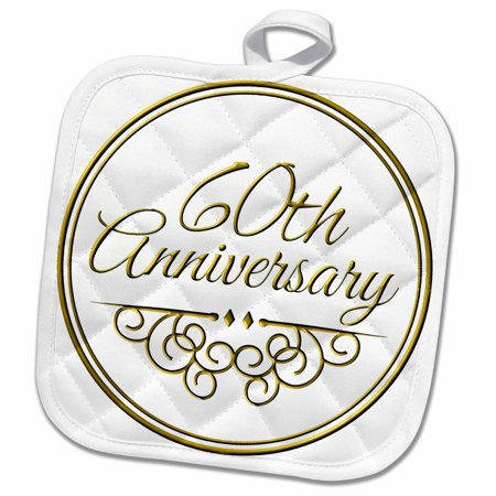 3dRose 60th Anniversary gift - gold text for celebrating wedding anniversaries - 60 years married together - Pot Holder, 8 by 8-inch - Walmart.com