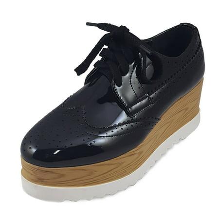 Women's Platform Lace Up Wingtips Oxford Wedge Heel Shoes (FREE (Lace Up Platform Shoes)