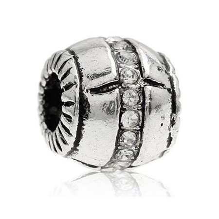 Clear  Crystals Pave Barrel Charm European Bead Compatible for Most European Snake Chain Bracelet