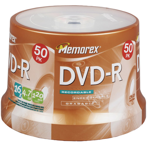 Memorex 05639 4.7GB DVD-R with Spindle, 50pk
