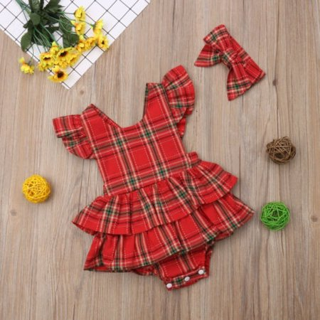 Newborn Infant Baby Girl Ruffle Sleeveless Romper Dress Bodysuit Handband 2pcs - image 1 of 5