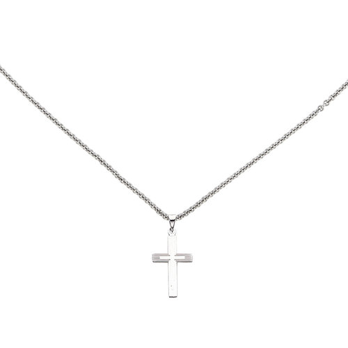 Jewels By Lux 14K Yellow Gold Textured and Polished Latin Cross Pendant