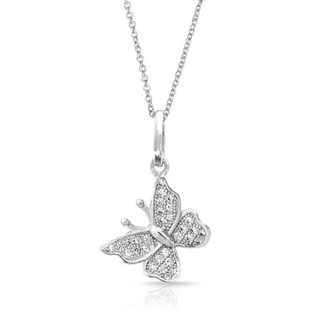 Tiny Simple Butterfly Pendant Necklace For Teen For Women Dangle Charm Micropave 925 Sterling Silver With Chain