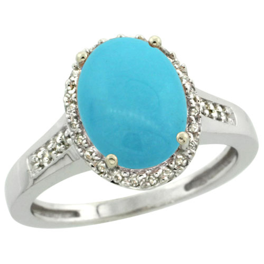 Sterling Silver Diamond Sleeping Beauty Turquoise Ring Oval 10x8mm, 1 2 inch wide, sizes 5-10 by WorldJewels
