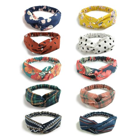 10 Pack Boho Headbands for Women Vintage Flower Printed Criss Cross Elastic Head Wrap Twisted Cute Hair Accessories