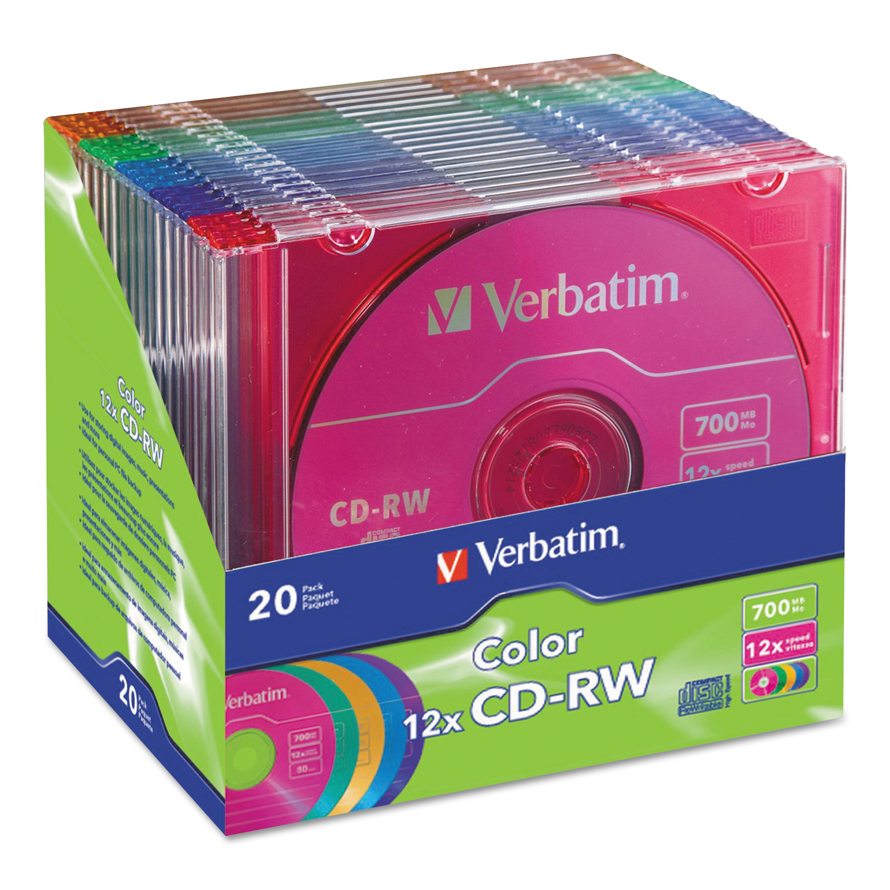 Verbatim CD-RW High-Speed Rewritable Disc, 700MB, 12x, Slim Jewel Case, 20/Pack