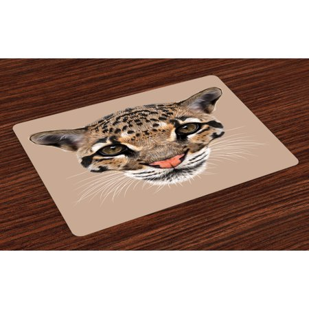 Animal Placemats Set of 4 Cute Baby Leopard Portrait Wildlife African Tropical Feline Illustration, Washable Fabric Place Mats for Dining Room Kitchen Table Decor,Umber Cocoa Brown, by Ambesonne for $<!---->