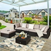 Costway 6PCS Outdoor Patio Rattan Furniture Set Cushioned Sectional Sofa Ottoman