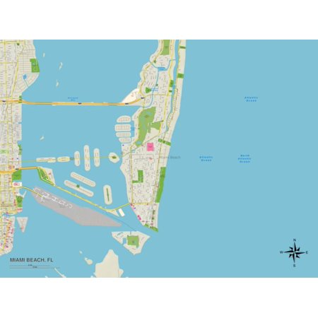 Political Map of Miami Beach, FL Print Wall Art](Miami Gardens Fl)