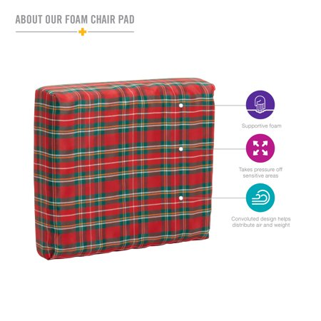 Foam Seat Pad - DMI Convoluted Foam Chair Pads, Seat with Plaid Cover, 16 x 18 x 4