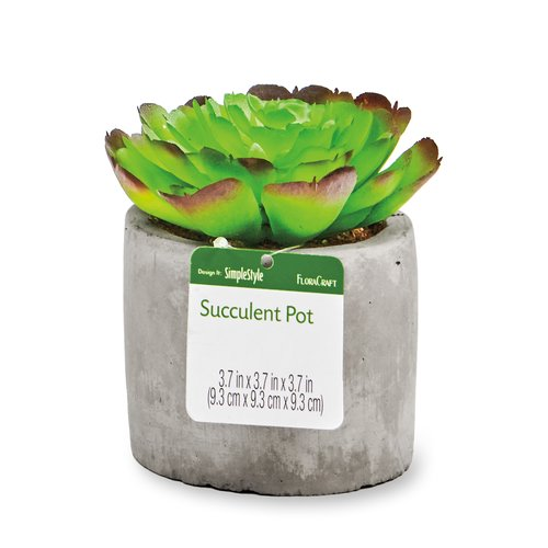 Floracraft Artificial Succulent, Premade Circular Pot, Green