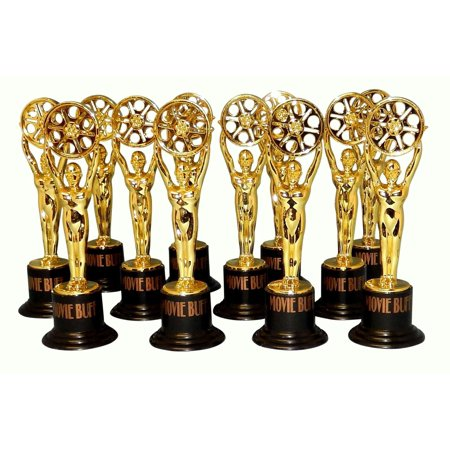 12 Movie Buff Gold Statues for Hollywood Movie Awards Parties Decoration, 12 movie buff gold statues. By Fun Express