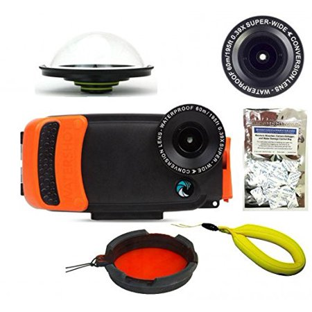 super popular fc3b0 54a4a Watershot PRO Underwater Smartphone Housing Kit for iPhone 6/6s Plus  (Black/Garibaldi WS) (flat + wide angle lens) w/ Complete Package