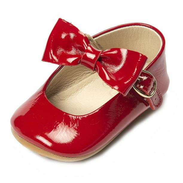 Anti-Slip Rubber Sole Ella Bonna Baby Girls Mary Jane Flats Bow Tie Leather Princess Wedding Dress Shoes