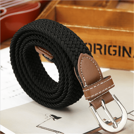 Black Woven Leather (NEW Canvas Elastic Woven Leather Pin Buckle Waist Belt Stretch Waistband Black )