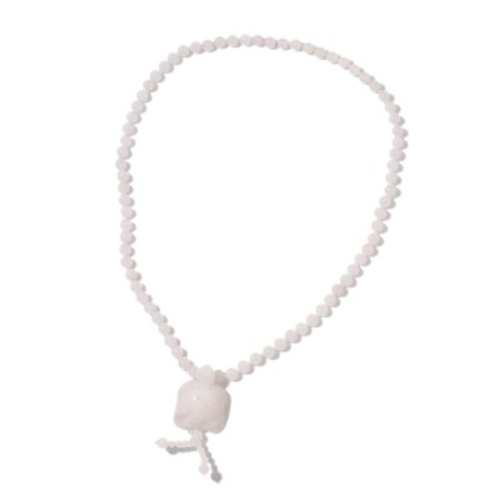 (Strand Necklace for Women White Quartzite Beads Turtle Tassel Jewelry Gift for Girls 26