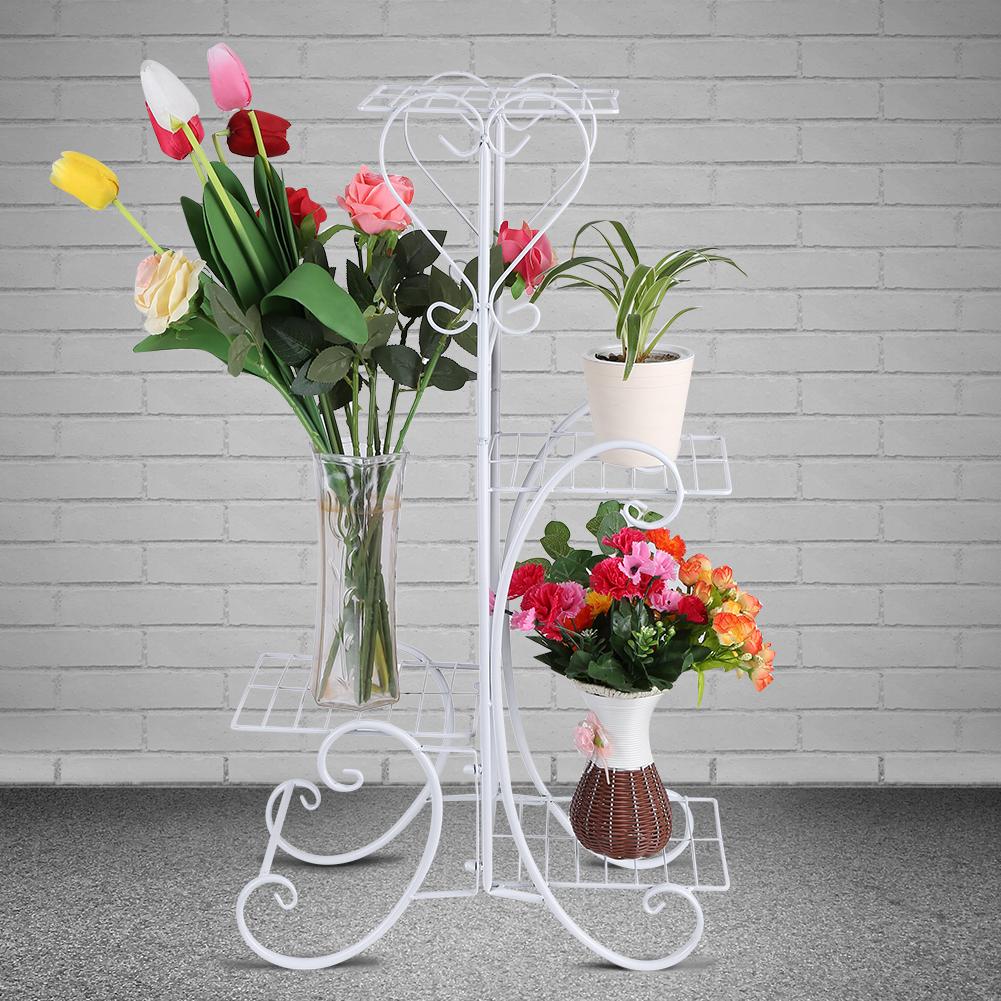 Dilwe 4 Tiers Garden Cart Plant Stand Indoor Outdoor Metal Flower