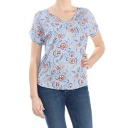 HIPPIE ROSE Womens Blue Back Zip Cuff Sleeved Printed V Neck Top Juniors  Size: M