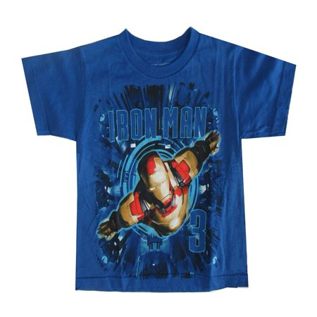 Marvel Little Boys Royal Blue Iron Man Graphic Print Short Sleeve Tee](Iron Man Clothes For Kids)