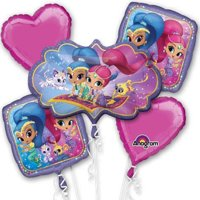 Shimmer and Shine Character Authentic Licensed Theme Foil Balloon Bouquet