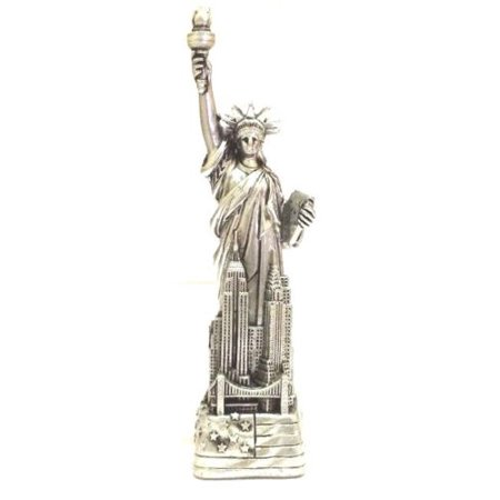 Statue of Liberty Replica - 4 inch Tall Silver Statue of Liberty NYC Souvenirs (Sculpture Replica)