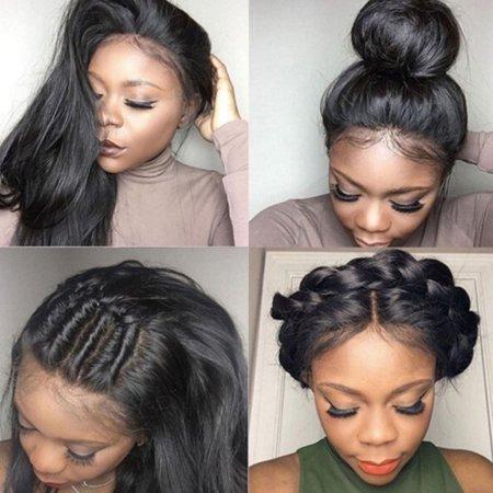 Fashion Women 100% Brazilian Lace Front Human Hair Wigs Tape Hair Straight Hair, 3 Piece Set - Wig Tape