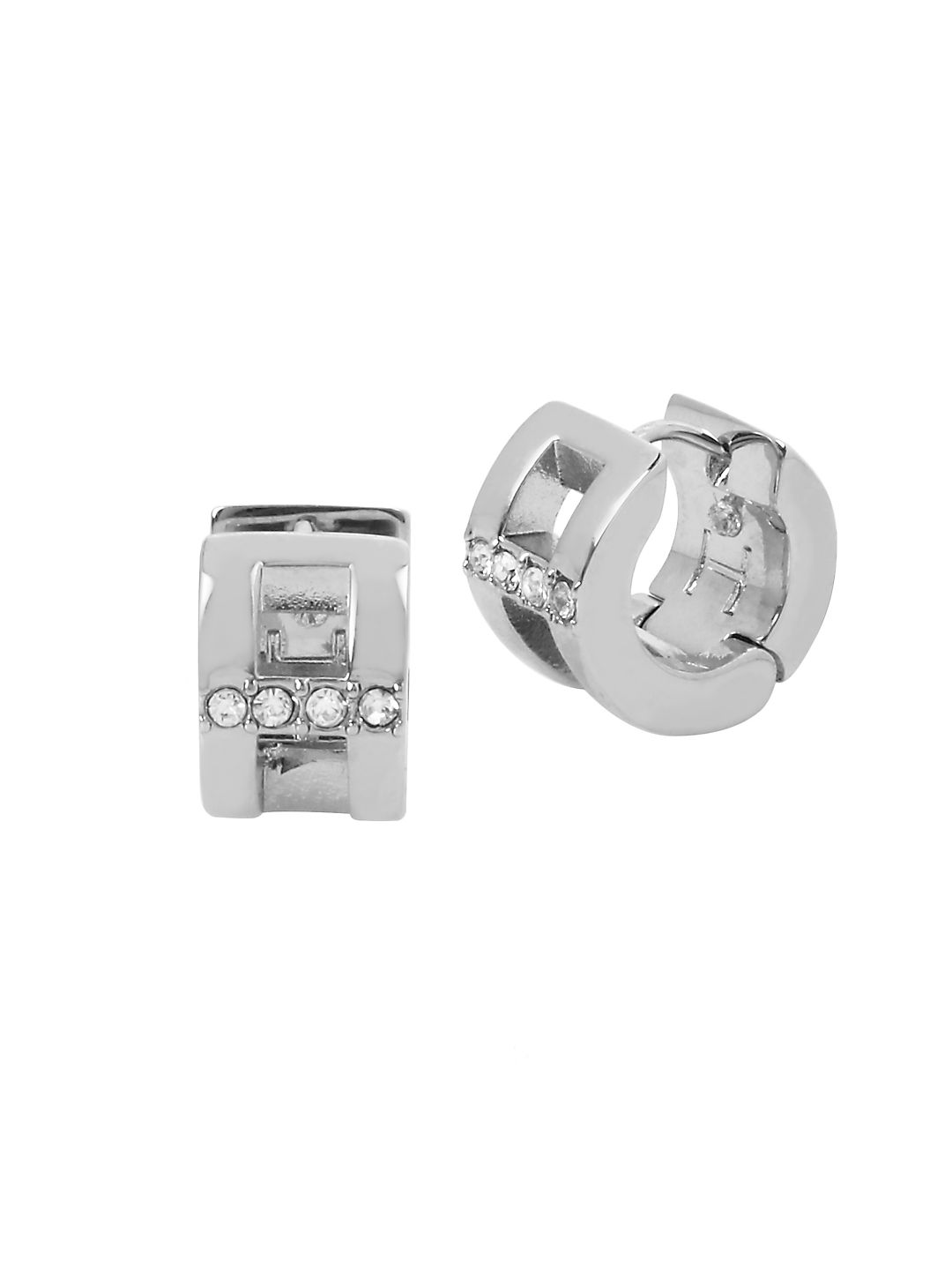 Rhodium Metal Crystal and Huggie Earrings