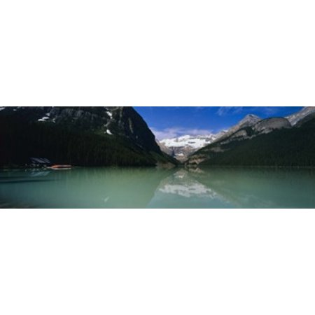 Reflection of mountains in water Lake Louise Banff National Park Alberta Canada Poster Print