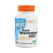 Doctor's Best Trans-Resveratrol 600, Non-GMO, Vegan, Gluten Free, Soy Free, 600 mg, 60