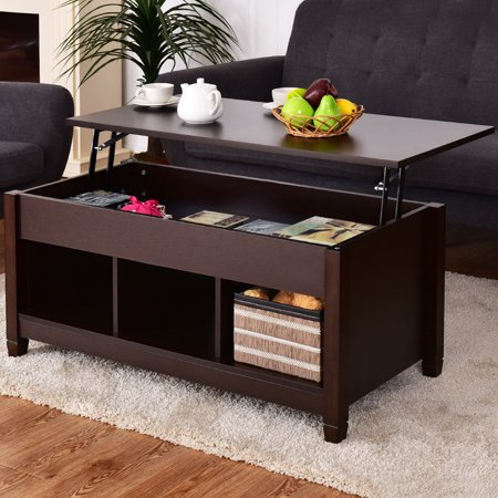 Costway lift top coffee table w hidden compartment and storage shelves modern furniture Lift top coffee tables storage