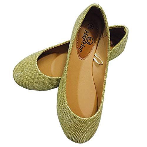 HapHop Womens Classic Ballerina Flats Round Toe Ballet Slip On Casual Fancy Comfort Shoes