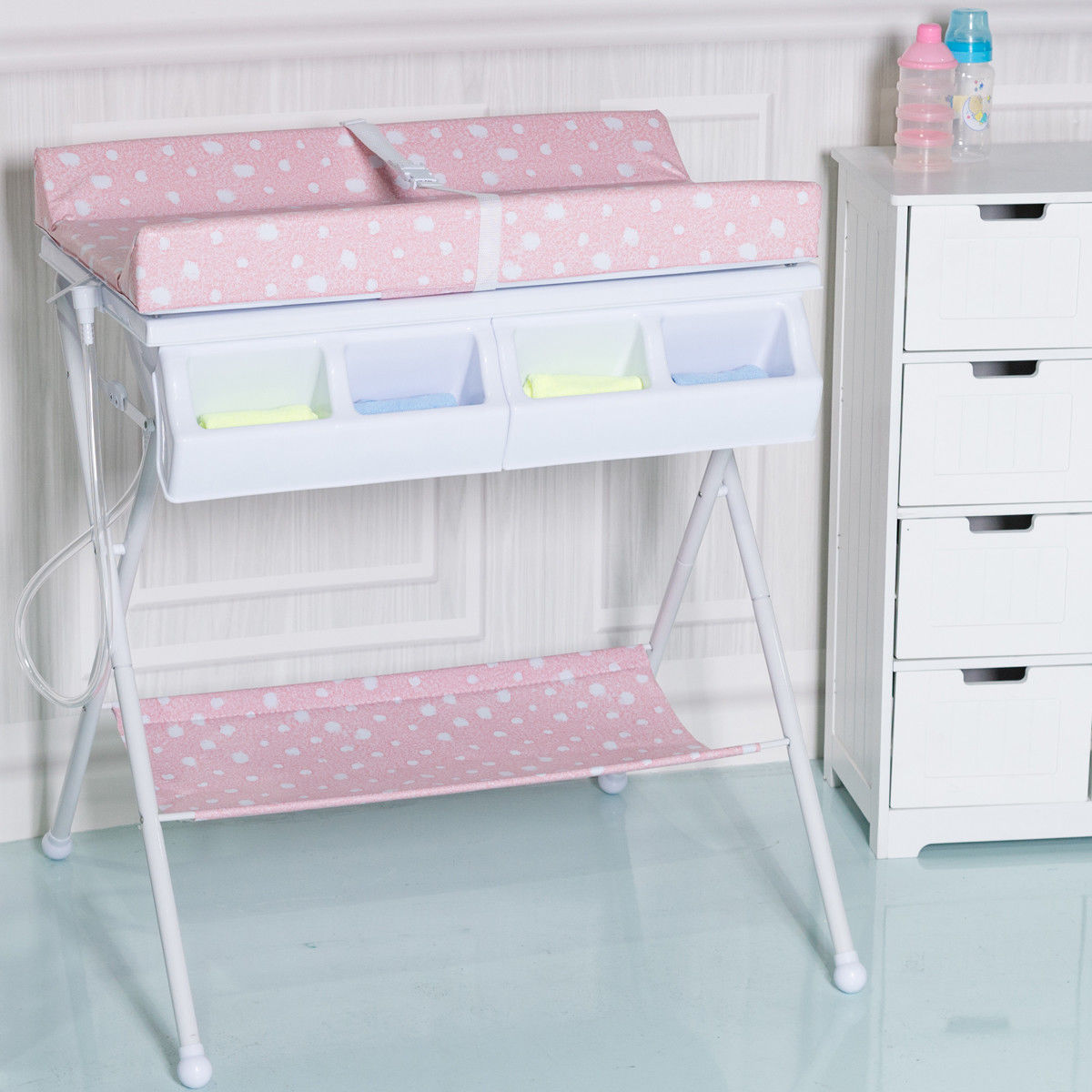 Costway Infant Baby Bath Changing Table Diaper Station Storage Organizer - image 8 of 8