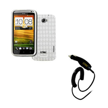 release date 09418 66a3a EMPIRE AT&T HTC One X Poly Skin Case Cover (Clear Diamonds) + Car Charger  [EMPIRE Packaging]