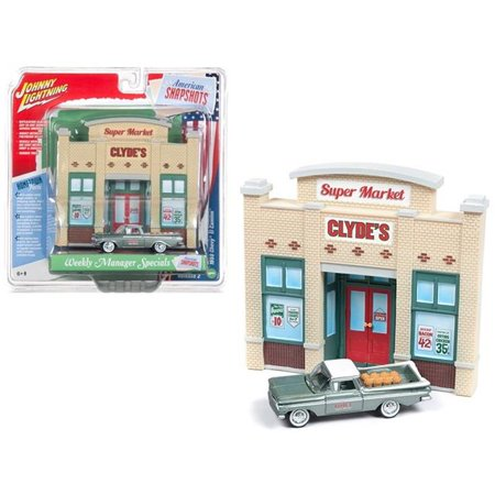 Johnny Lightning JLDR003-ELCAM 1959 Chevrolet El Camino Pickup Truck Green & Resin Store Front Facade Weekly Manager Specials Diorama 1 by 64 Die-Cast Models - image 1 of 1