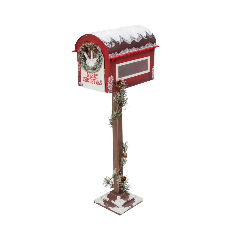 Gerson 35 Inch Tall Wooden Holiday Mailbox With Pine Garland For Santa Walmart Com Walmart Com