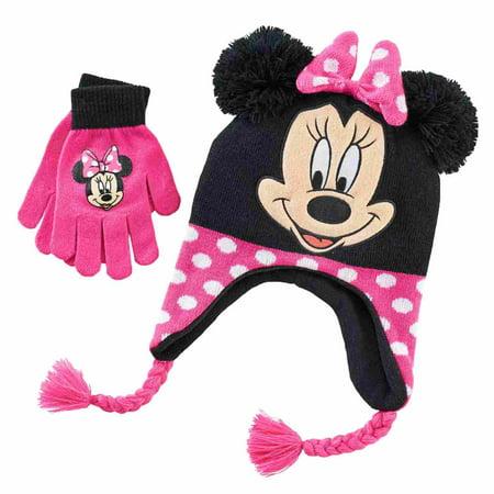 c995eb1a26a Disney - Disney Girls Black   Pink Minnie Mouse Hat   Gloves Beanie  Stocking Cap Set - Walmart.com