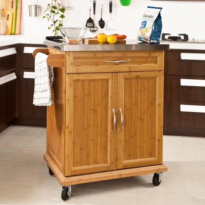 Haotian FKW13-N, Wood Kitchen Cabinet, Kitchen Storage Trolley Cart with Stainless Steel Surface and Lockable Wheels, Natural