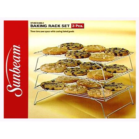 Sunbeam 3-Piece Stackable Baking Rack Set, Durable 3-piece chrome-plated cooling-rack set By Robinson Chrome Plated Condiment Rack
