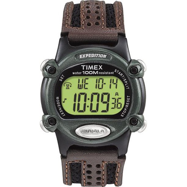 Men's T48042 Expedition Full-Size Digital CAT Brown Mixed Material Strap Watch